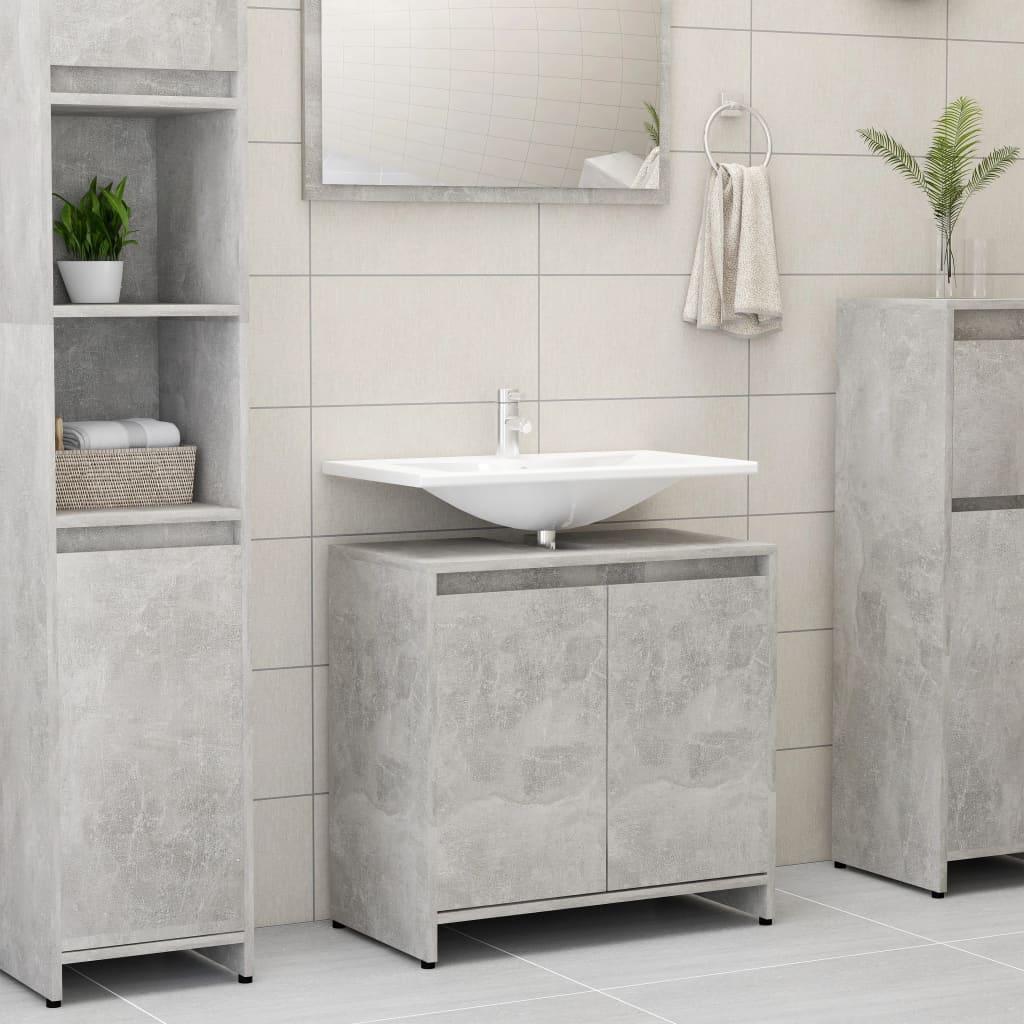 vidaXL Skrinka do kúpeľne, betónovo sivá 60x33x58 cm, drevotrieska