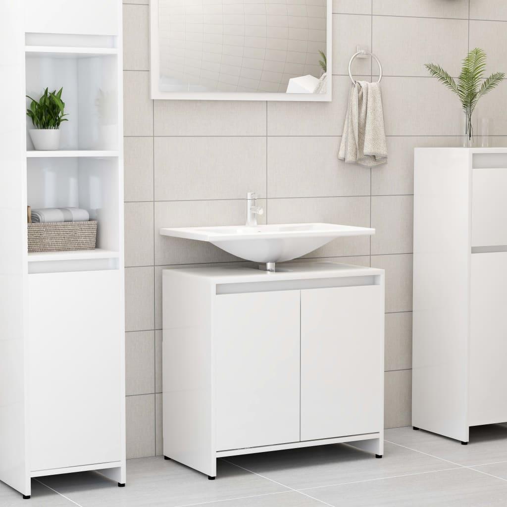 vidaXL Skrinka do kúpeľne, lesklá biela 60x33x58 cm, drevotrieska
