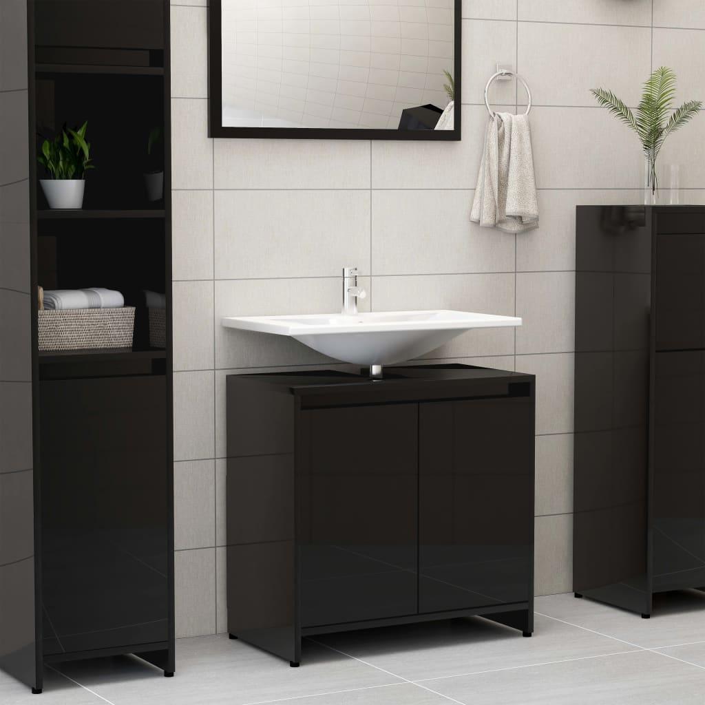 vidaXL Skrinka do kúpeľne, lesklá čierna 60x33x58 cm, drevotrieska