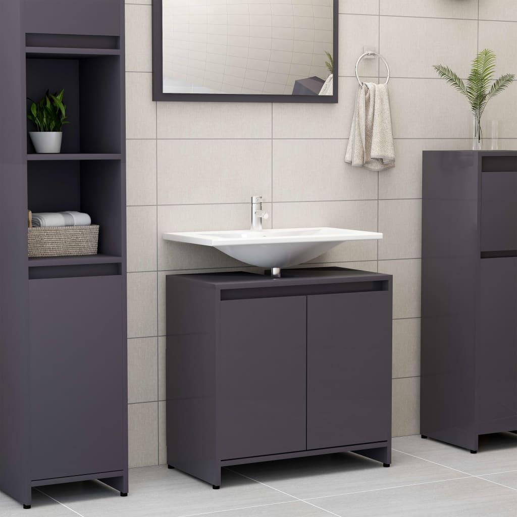 vidaXL Skrinka do kúpeľne, lesklá sivá 60x33x58 cm, drevotrieska