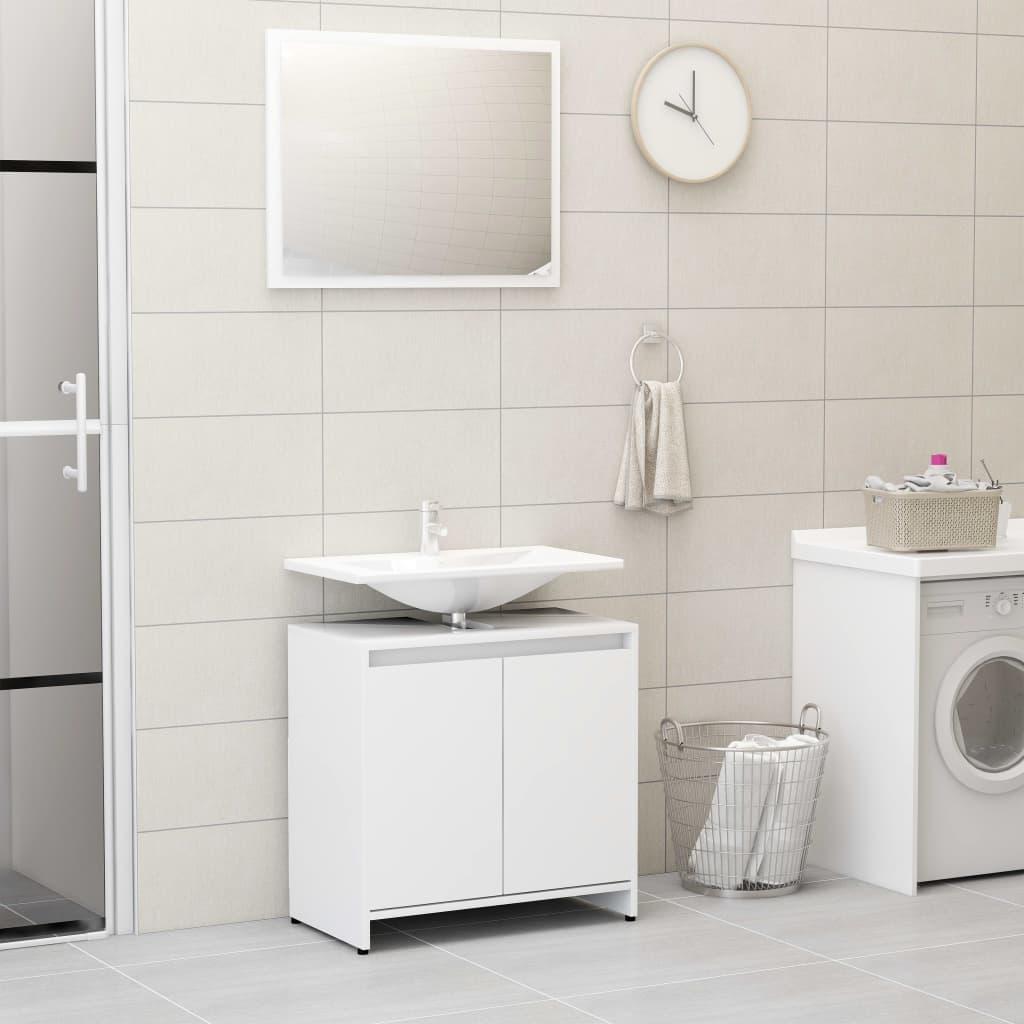 vidaXL Súprava kúpeľňového nábytku, biela, drevotrieska