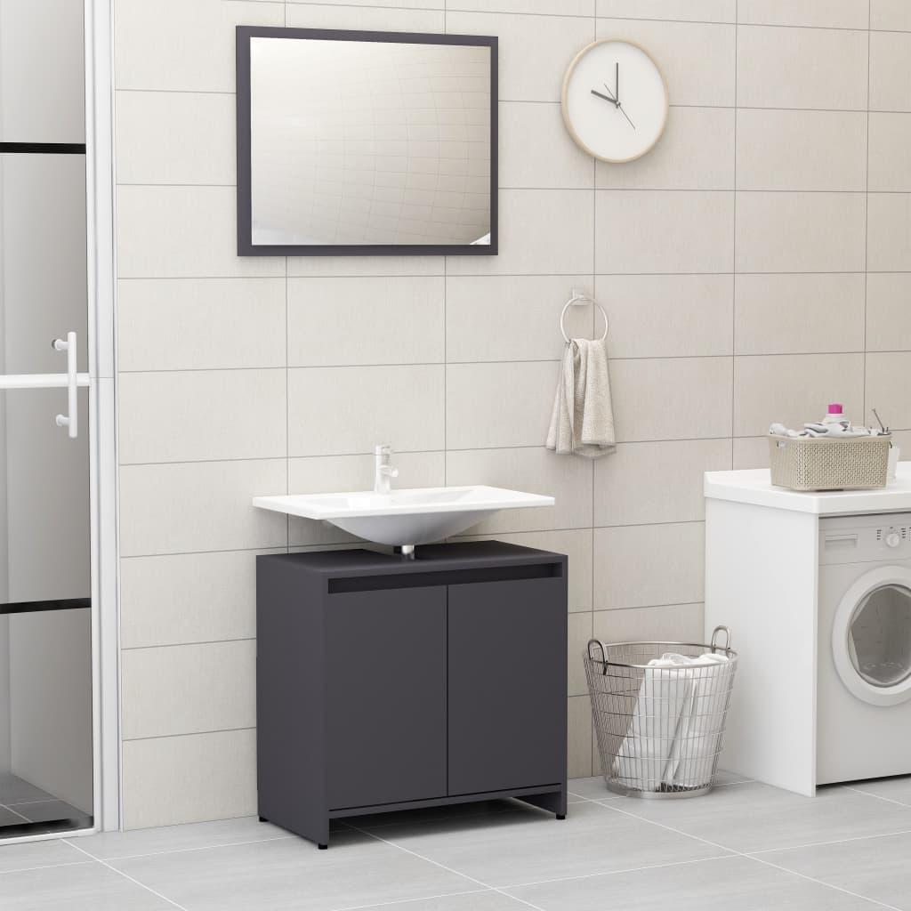 vidaXL Súprava kúpeľňového nábytku, sivá, drevotrieska