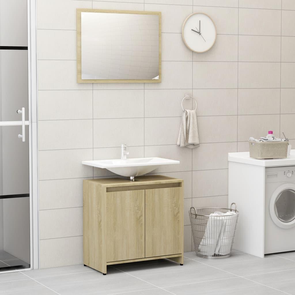 vidaXL Súprava kúpeľňového nábytku, dub sonoma, drevotrieska