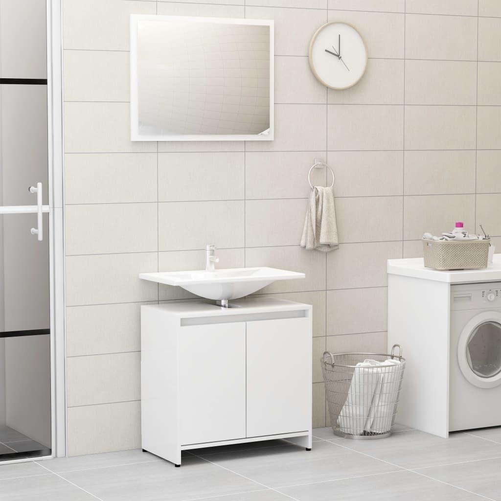 vidaXL Súprava kúpeľňového nábytku, lesklá biela, drevotrieska