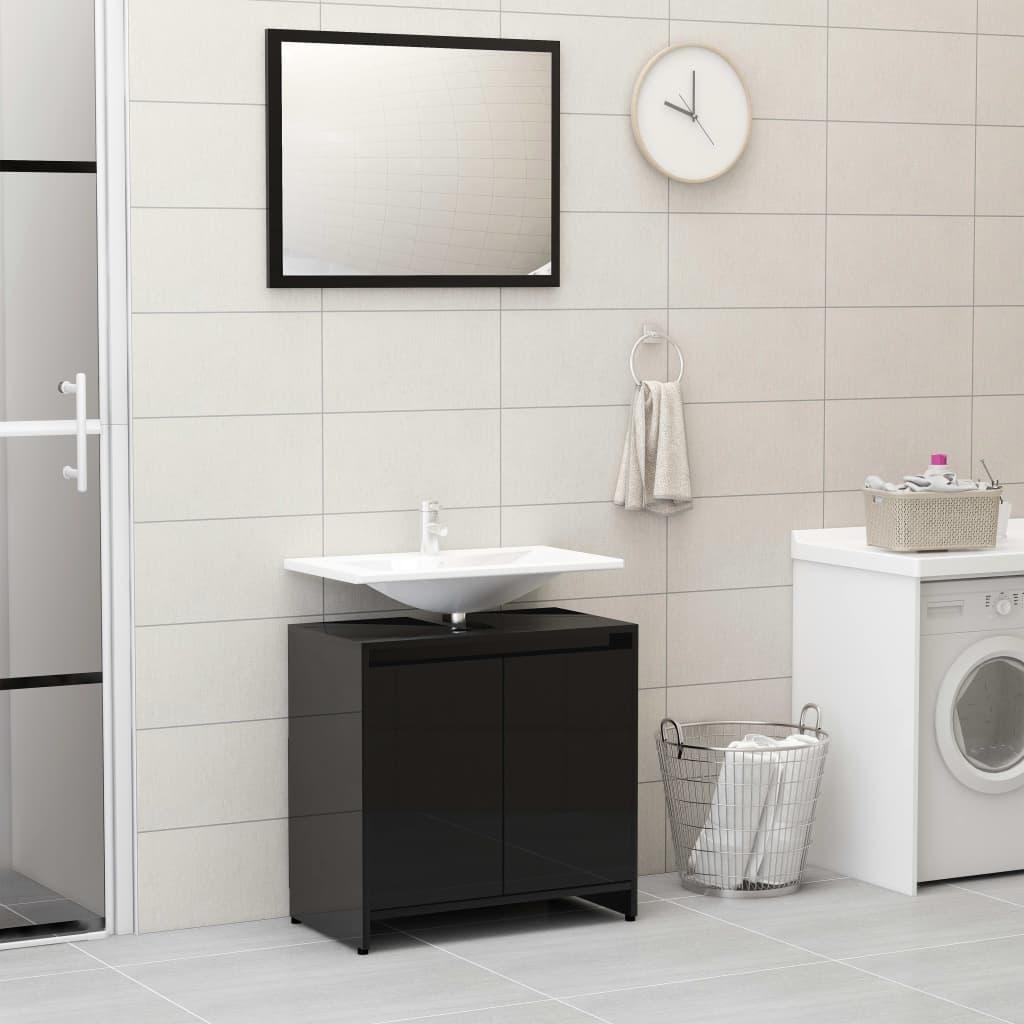 vidaXL Súprava kúpeľňového nábytku, lesklá čierna, drevotrieska