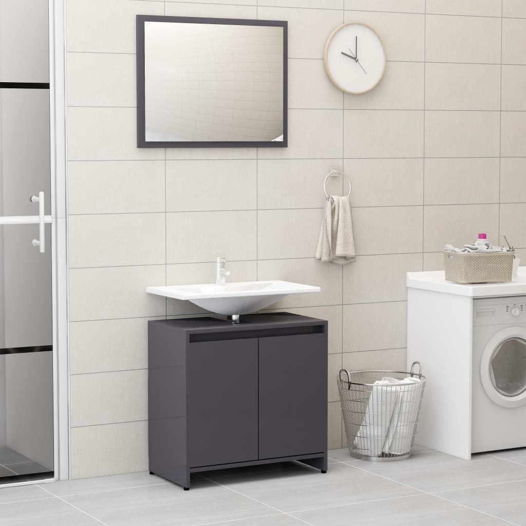 vidaXL Súprava kúpeľňového nábytku, lesklá sivá, drevotrieska