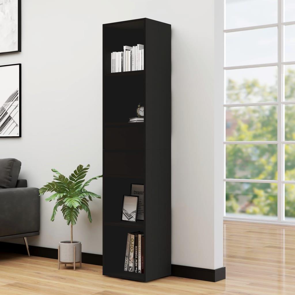 vidaXL Knižnica čierna 36x30x171 cm drevotrieska