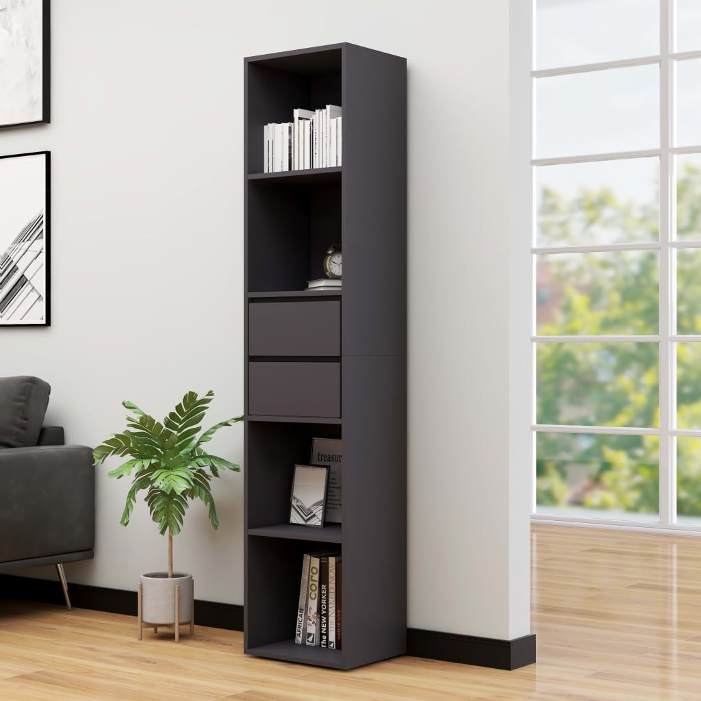 vidaXL Knižnica sivá 36x30x171 cm drevotrieska