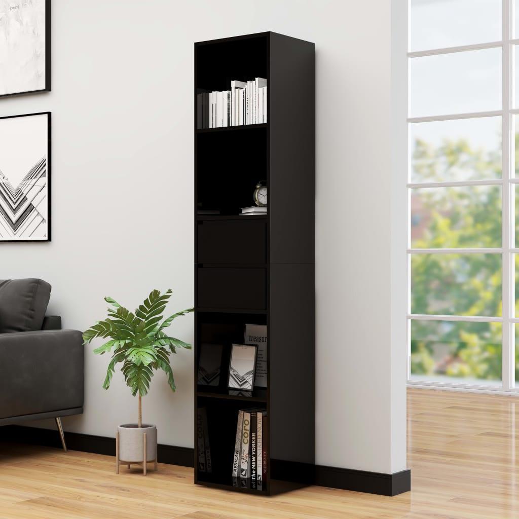 vidaXL Knižnica lesklá čierna 36x30x171 cm drevotrieska