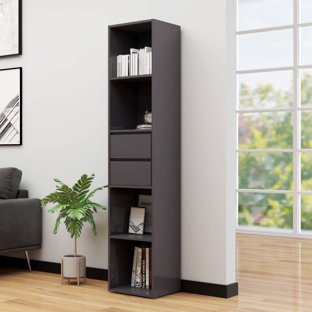 vidaXL Knižnica lesklá sivá 36x30x171 cm drevotrieska