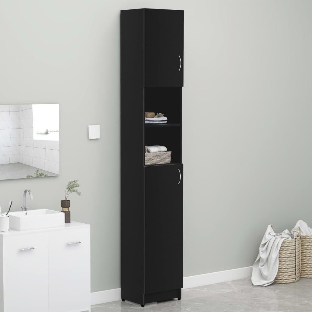 vidaXL Skrinka na práčku čierna 32x25,5x190 cm drevotrieska