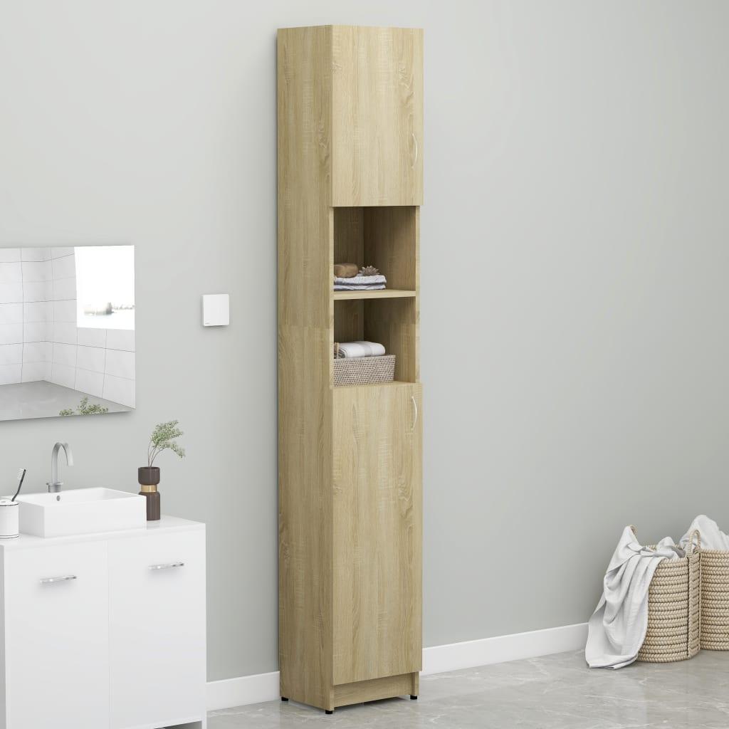 vidaXL Skrinka na práčku, dub sonoma 32x25,5x190cm, drevotrieska