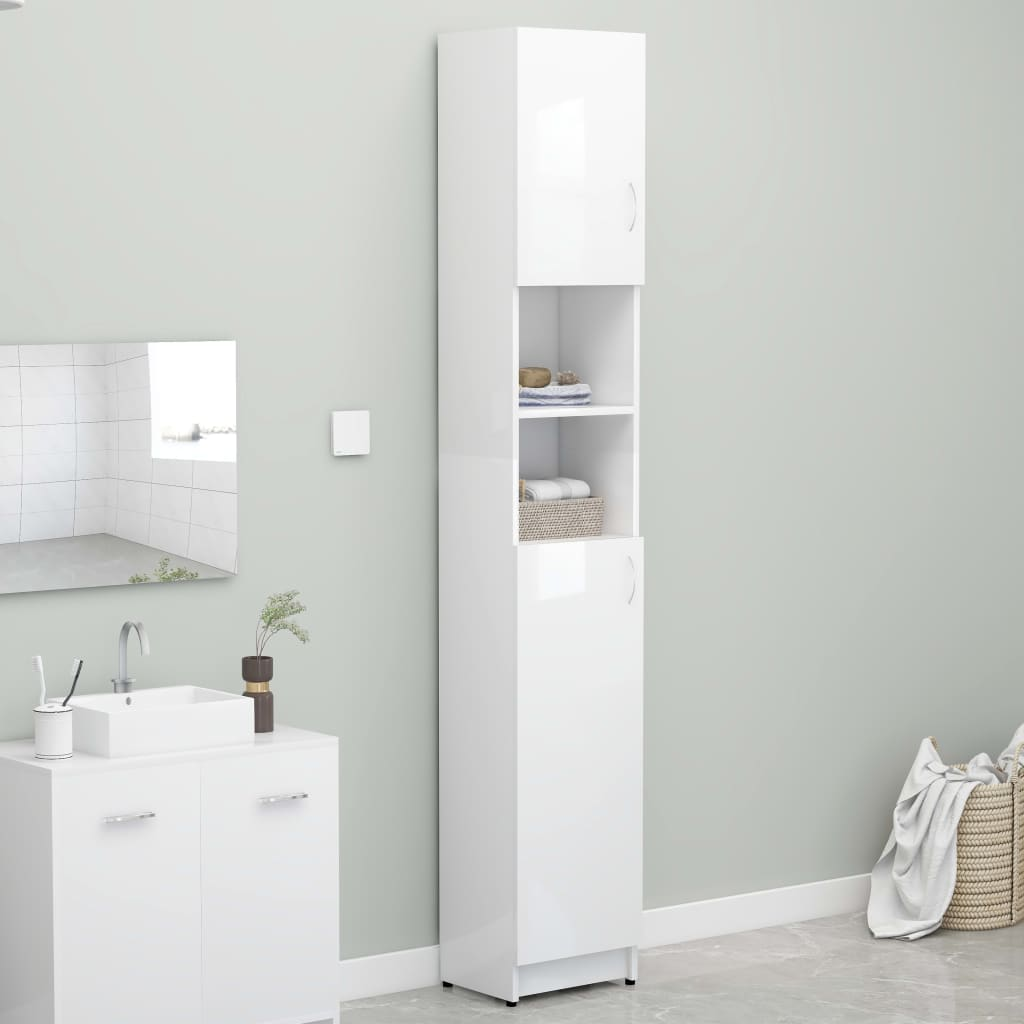 vidaXL Skrinka na práčku lesklá biela 32x25,5x190 cm drevotrieska
