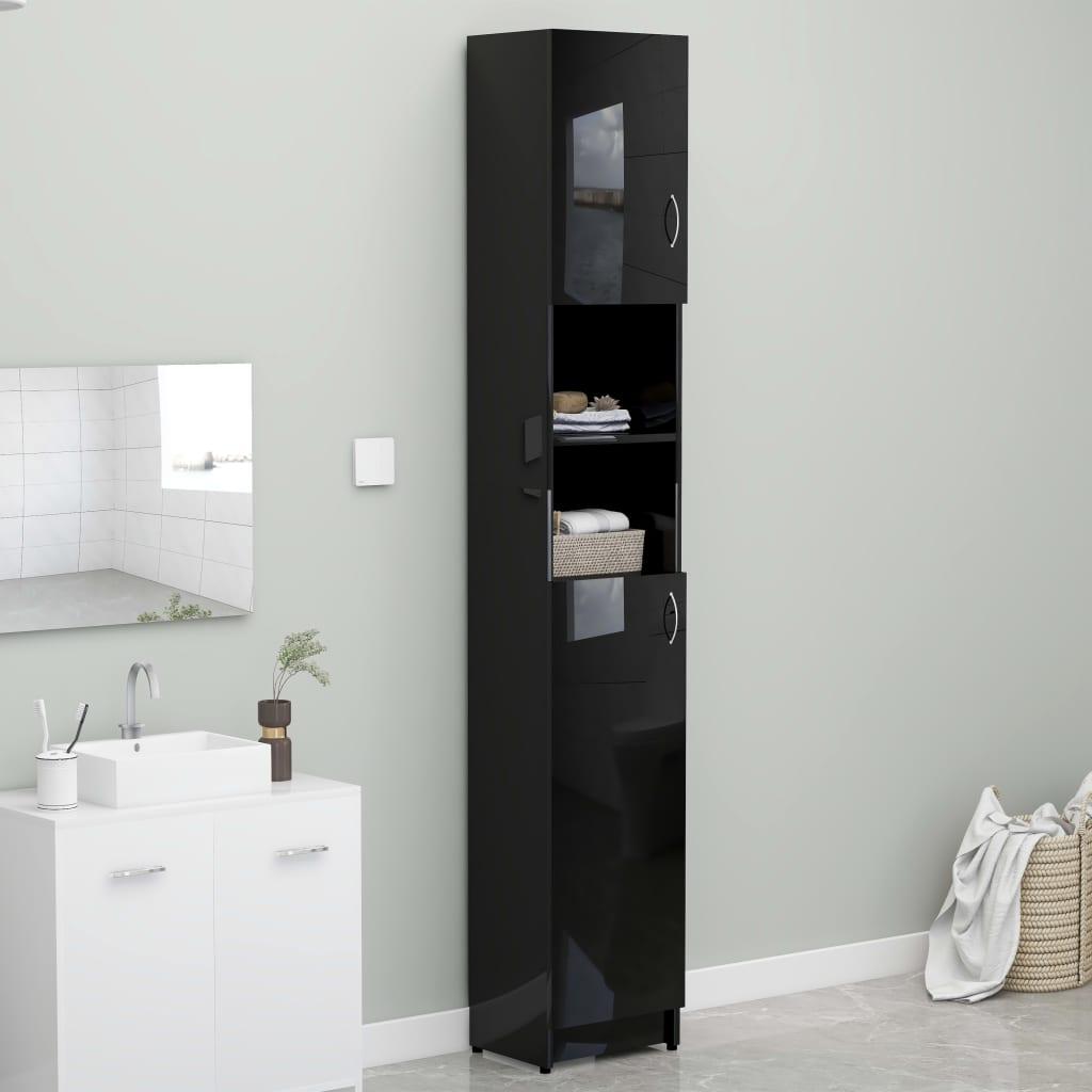 vidaXL Skrinka na práčku lesklá čierna 32x25,5x190 cm drevotrieska