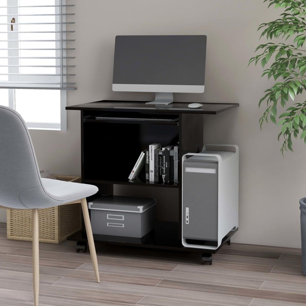 vidaXL PC stôl čierny 80x50x75 cm drevotrieska