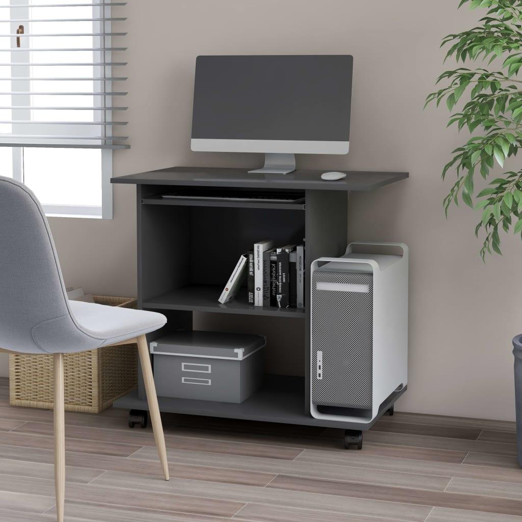 vidaXL PC stôl sivý 80x50x75 cm drevotrieska