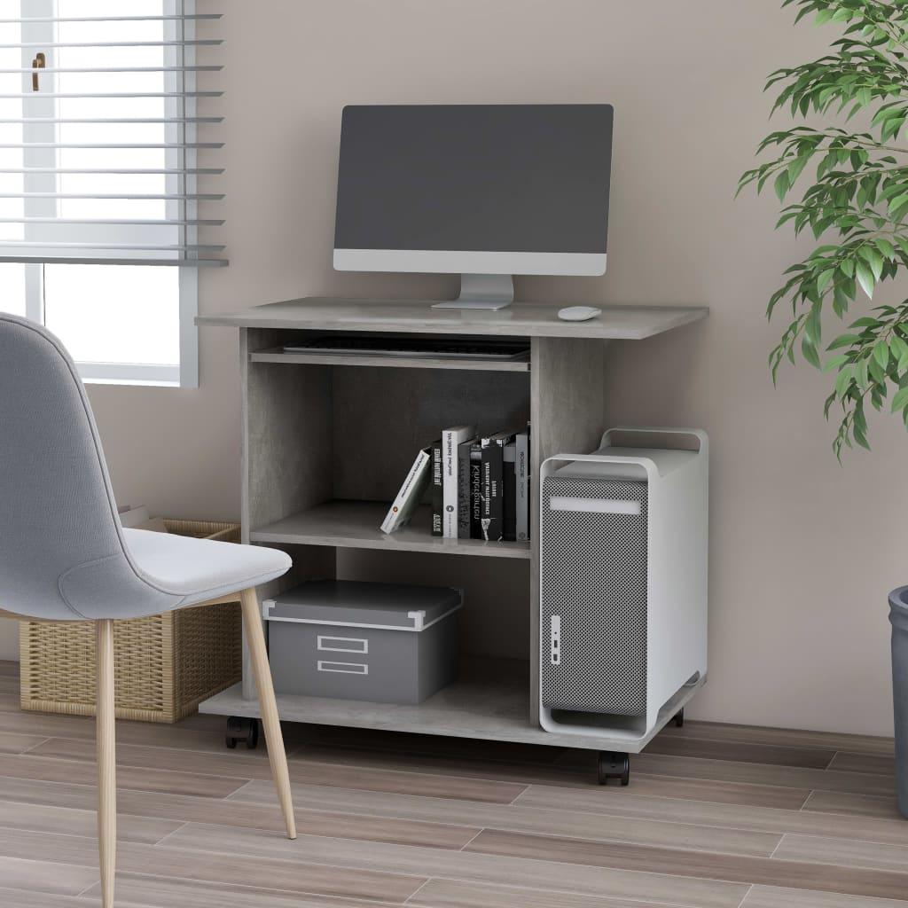 vidaXL PC stôl betónový sivý 80x50x75 cm drevotrieska