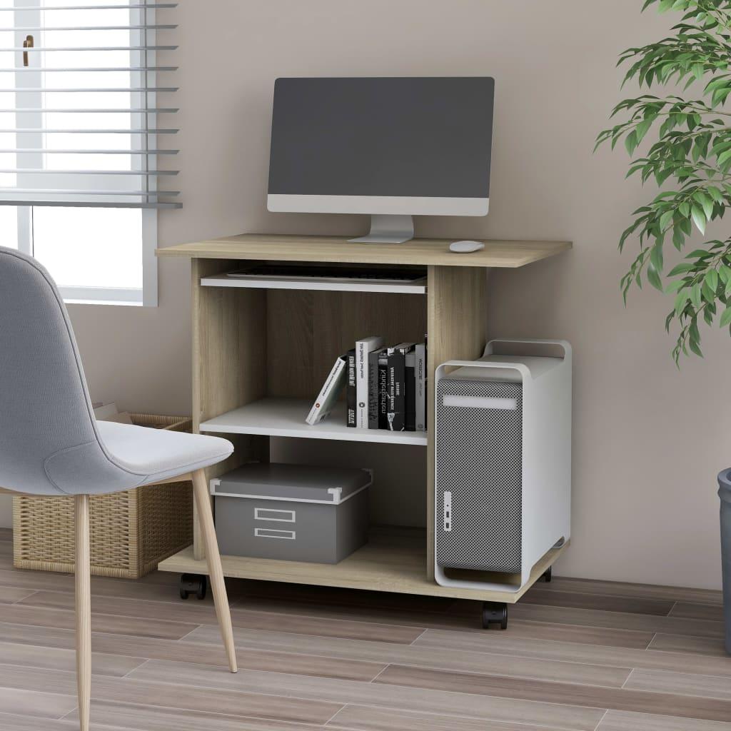 vidaXL PC stôl biela a farba dubu sonoma 80x50x75 cm drevotrieska
