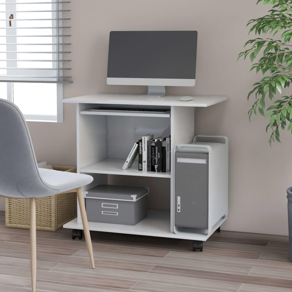 vidaXL PC stôl lesklý biely 80x50x75 cm drevotrieska
