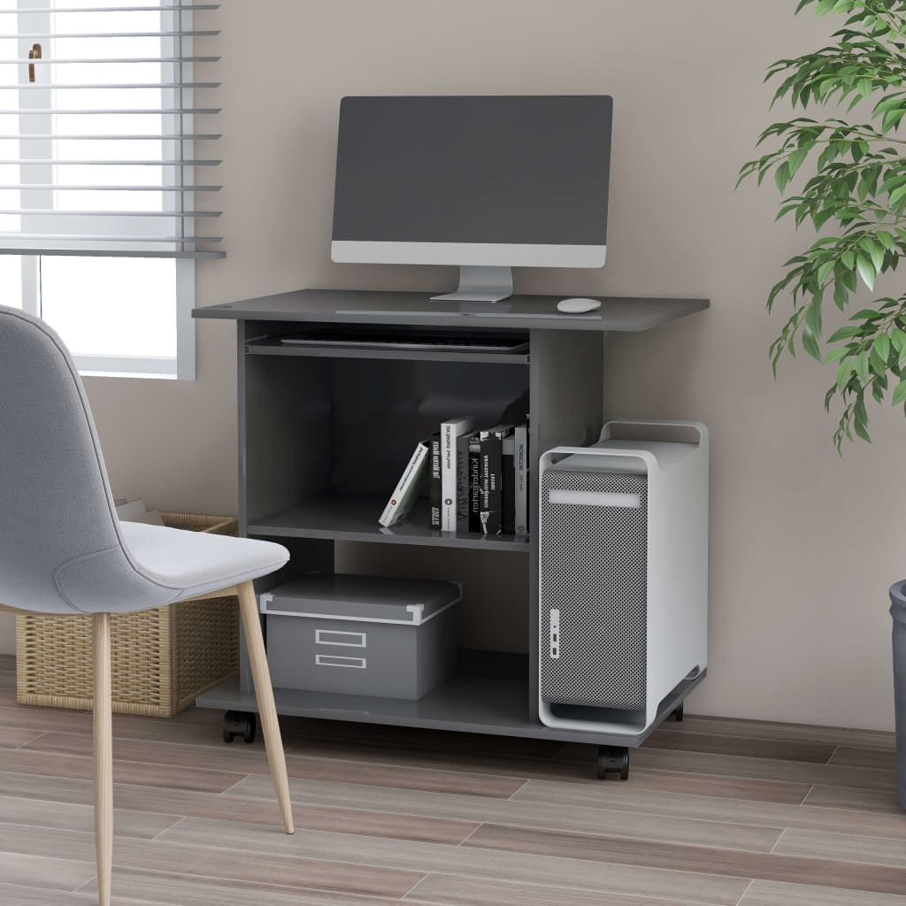 vidaXL PC stôl lesklý sivý 80x50x75 cm drevotrieska