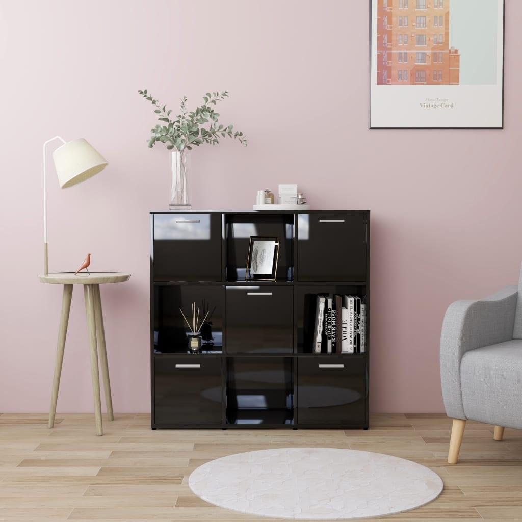 vidaXL Knižnica, lesklá čierna 90x30x90 cm, drevotrieska