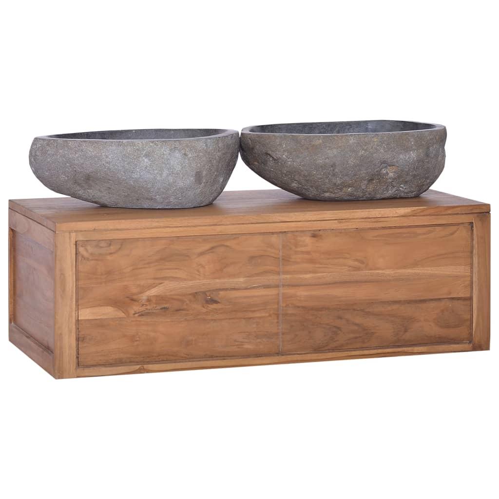 vidaXL Nástenná kúpeľňová skrinka 90x45x30 cm masívne teakové drevo