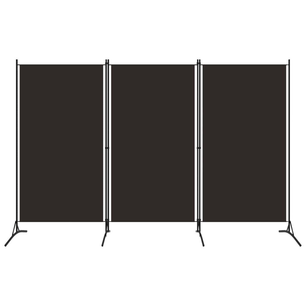 vidaXL 3-panelový paraván hnedý 260x180 cm