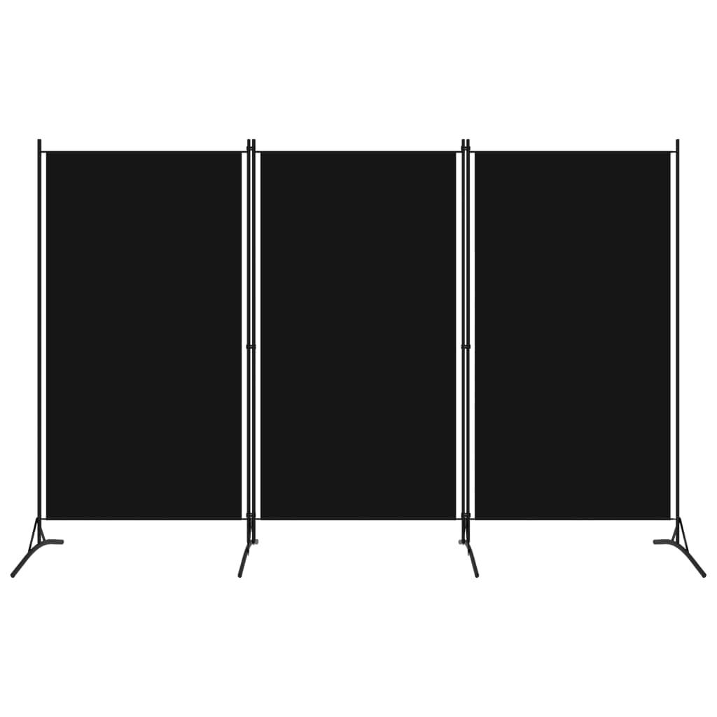 vidaXL 3-panelový paraván čierny 260x180 cm