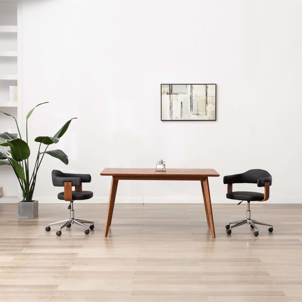 vidaXL Otočné jedálenské stoličky 2ks čierne ohýbané drevo a umelá koža