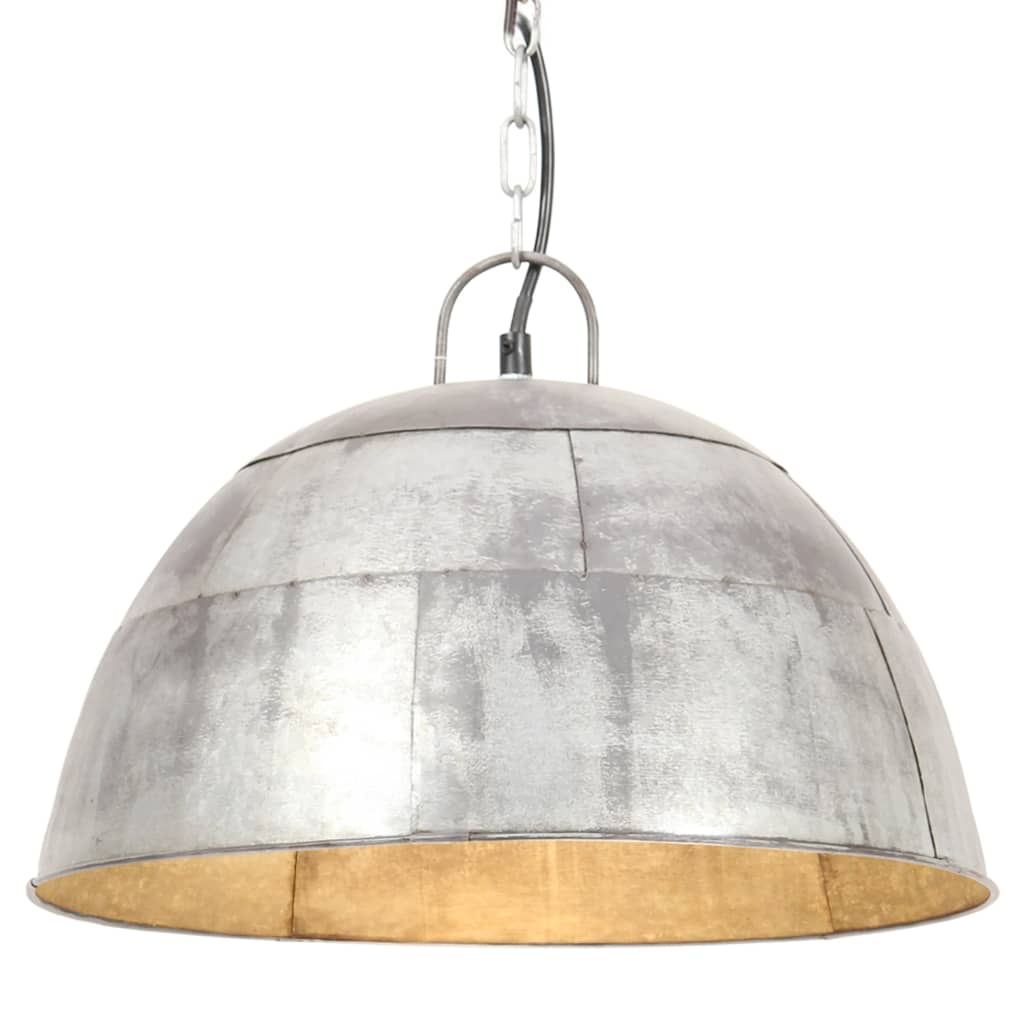 vidaXL Industriálna vintage závesná lampa 25 W, strieborná 41 cm E27