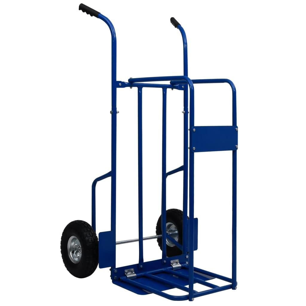 vidaXL Vozík na palivové drevo oceľový 63x70,5x119,5 cm 120 kg modrý