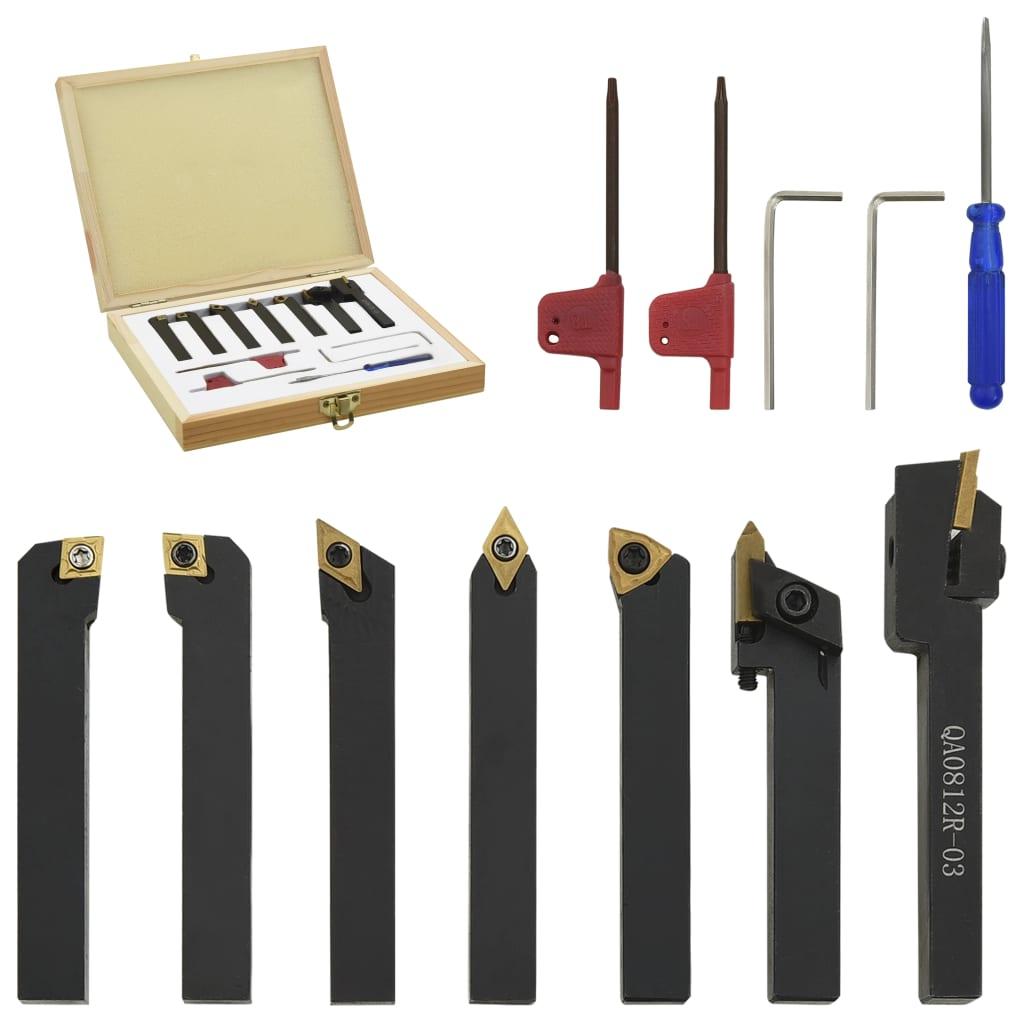 vidaXL 12-dielna sada sústružníckych nožov s vymeniteľnými plátkami 8x8 mm 60 mm