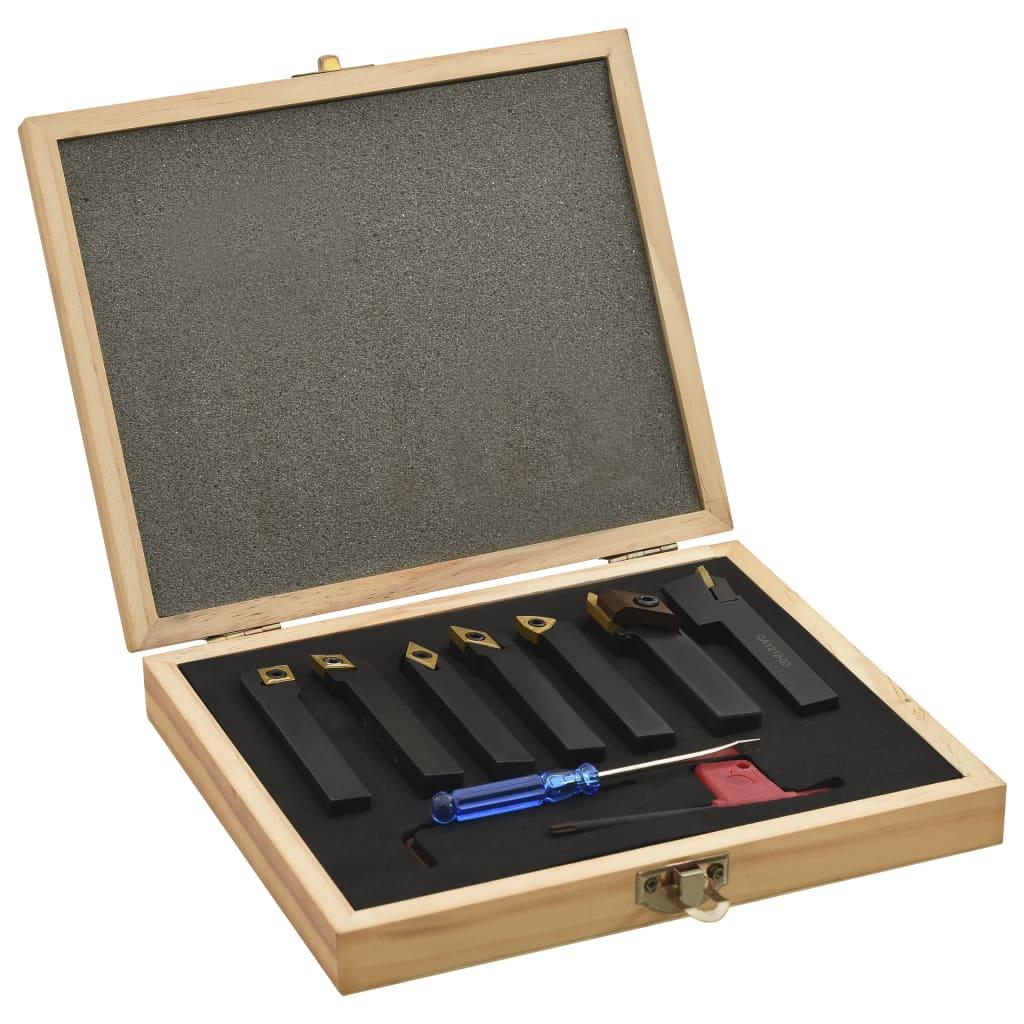 vidaXL 12-dielna sada sústružníckych nožov s vymeniteľnými plátkami 12x12 mm 80 mm