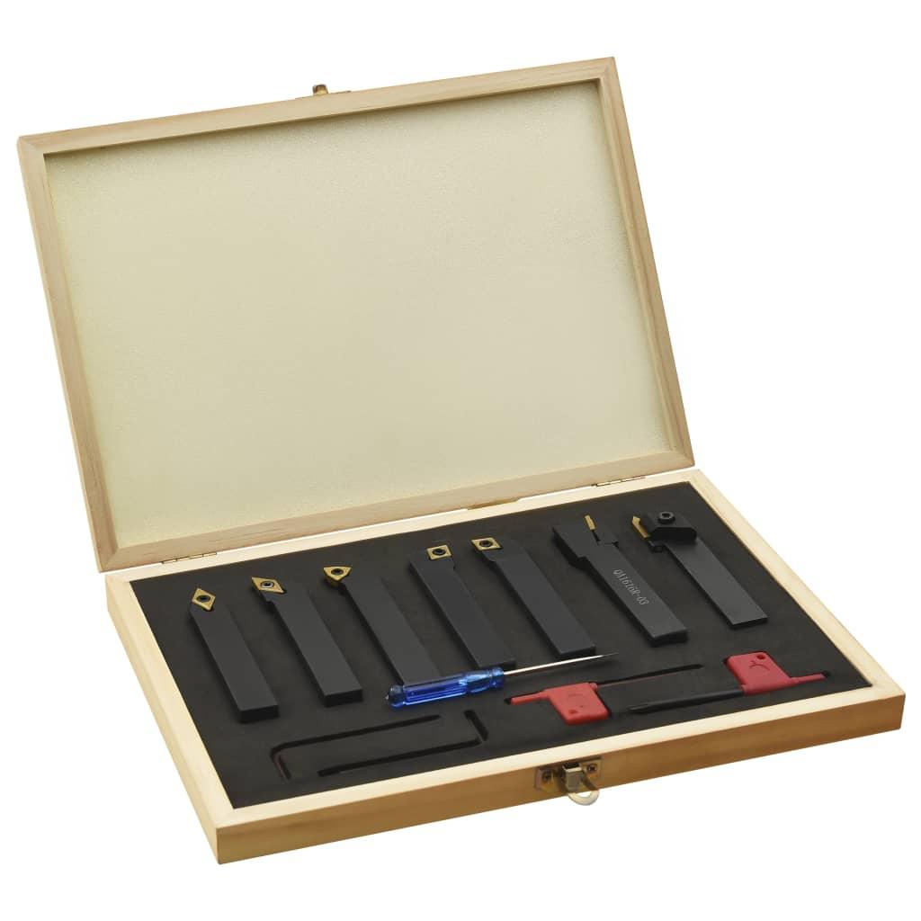 vidaXL 12-dielna sada sústružníckych nožov s vymeniteľnými plátkami 16x16 mm 115 mm