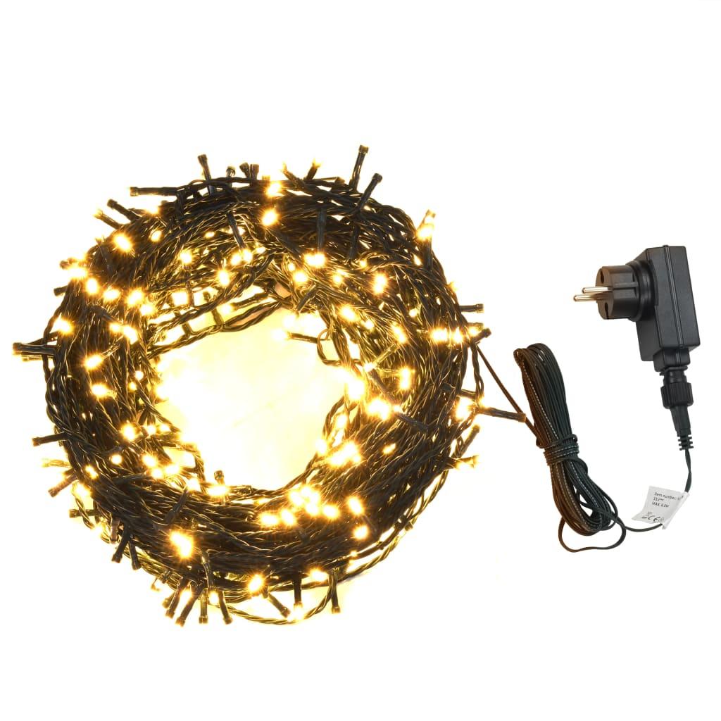 vidaXL Svetelná reťaz 2000 LED interiér a exteriér IP44 200 m teplé biele svetlo