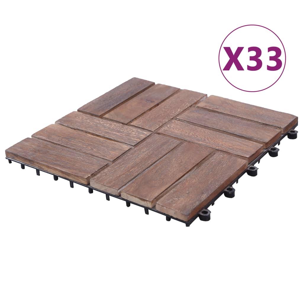 vidaXL Podlahové dlaždice 33 ks 30x30 cm recyklovaný masív