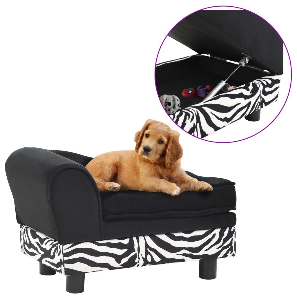 vidaXL Pohovka pre psa čierna 57x34x36 cm plyšová
