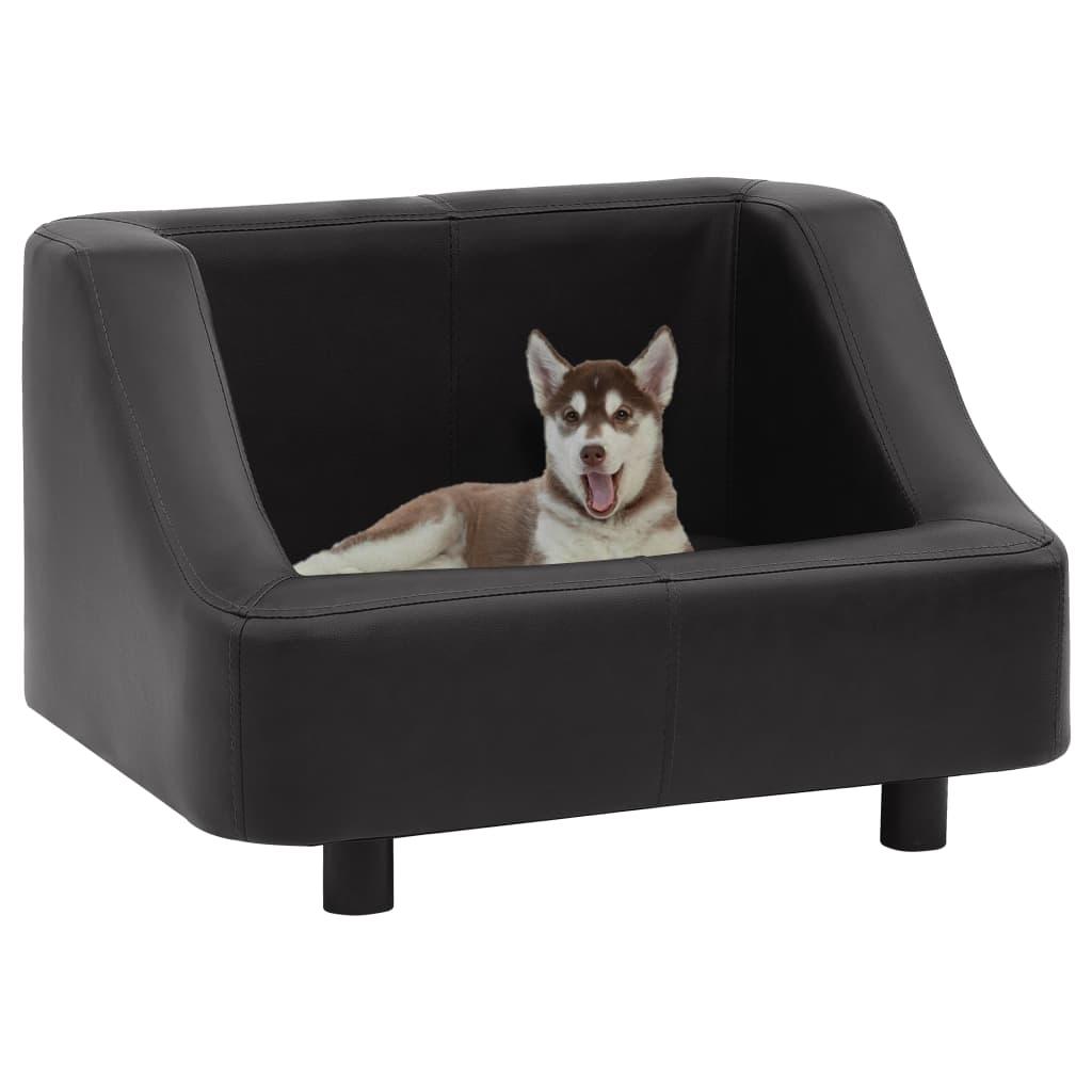vidaXL Pohovka pre psa čierna 67x52x40 cm umelá koža