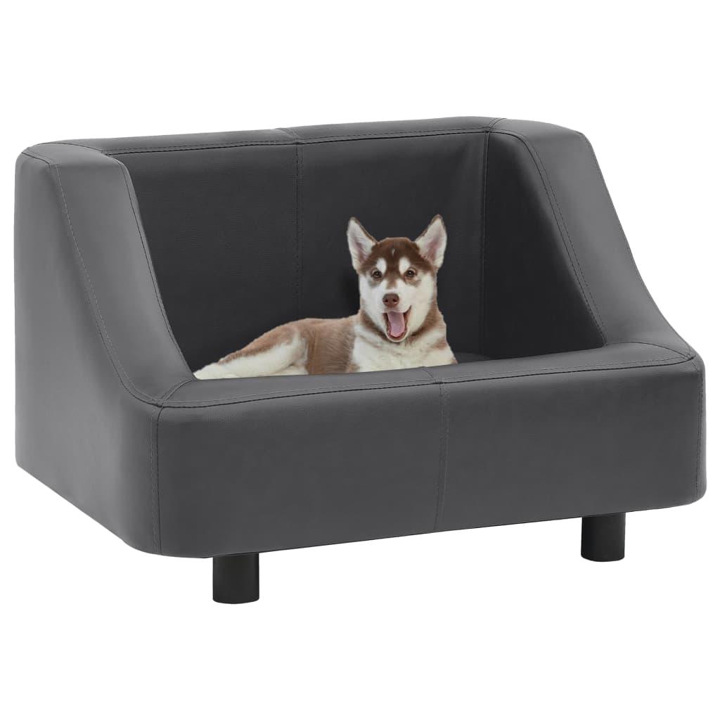 vidaXL Pohovka pre psa sivá 67x52x40 cm umelá koža