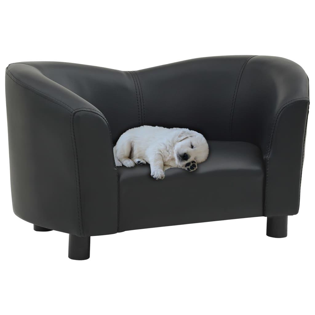 vidaXL Pohovka pre psa čierna 67x41x39 cm umelá koža