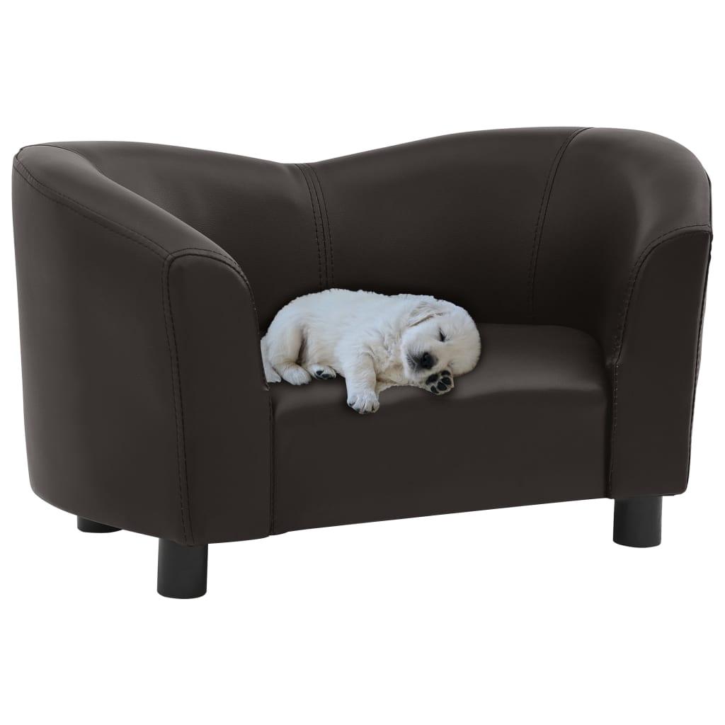 vidaXL Pohovka pre psa hnedá 67x41x39 cm umelá koža