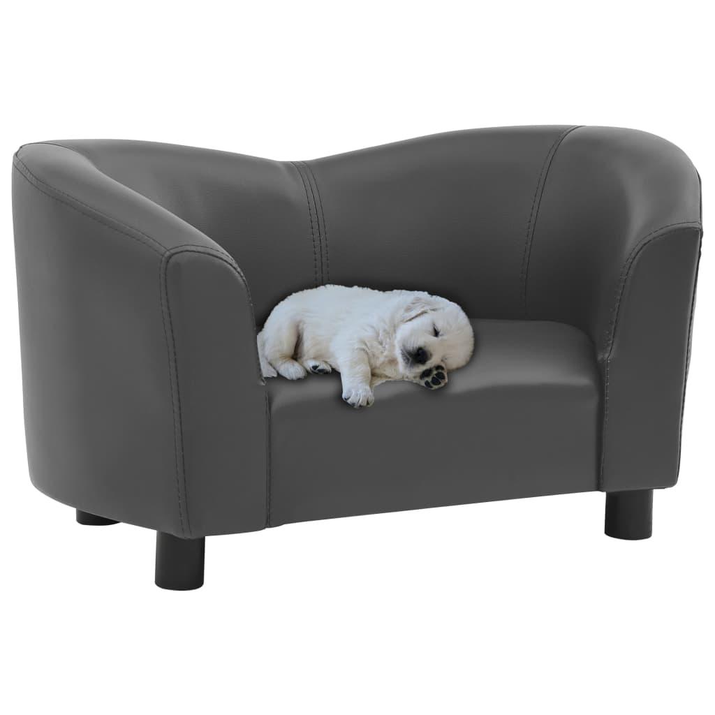 vidaXL Pohovka pre psa šedá 67x41x39 cm umelá koža