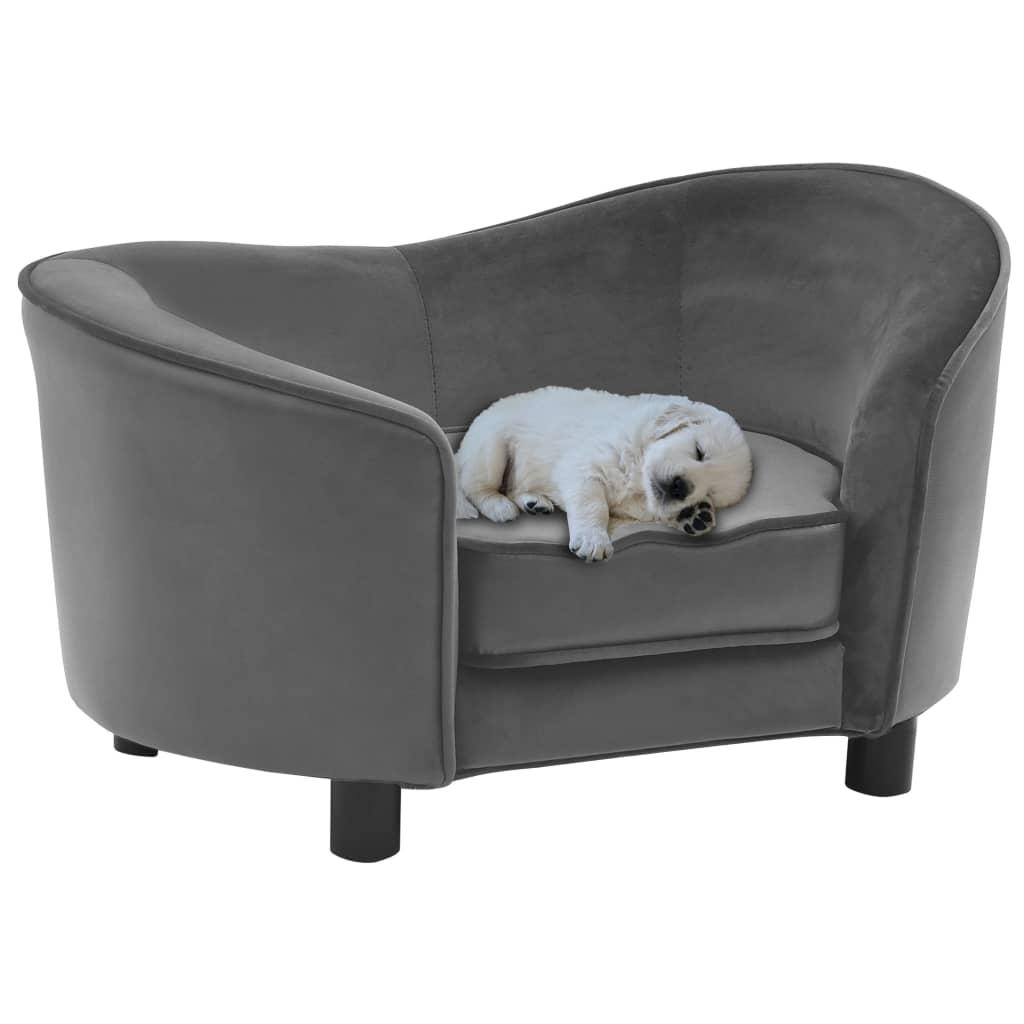 vidaXL Pohovka pre psa šedá 69x49x40 cm plyšová a umelá koža