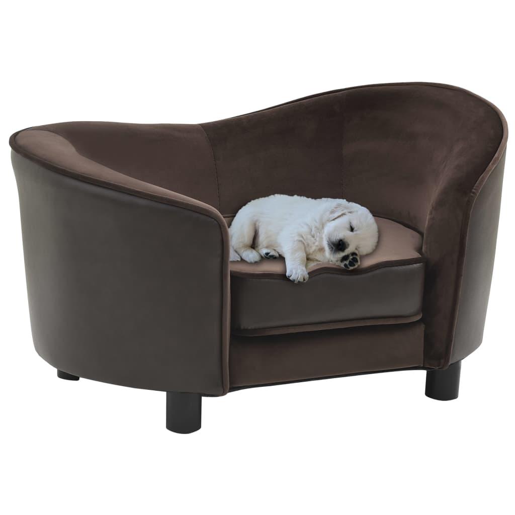 vidaXL Pohovka pre psa hnedá 69x49x40 cm plyšová a umelá koža