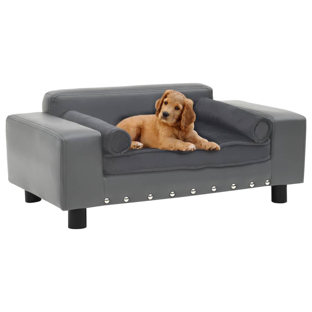 vidaXL Pohovka pre psa sivá 81x43x31 cm plyš a umelá koža