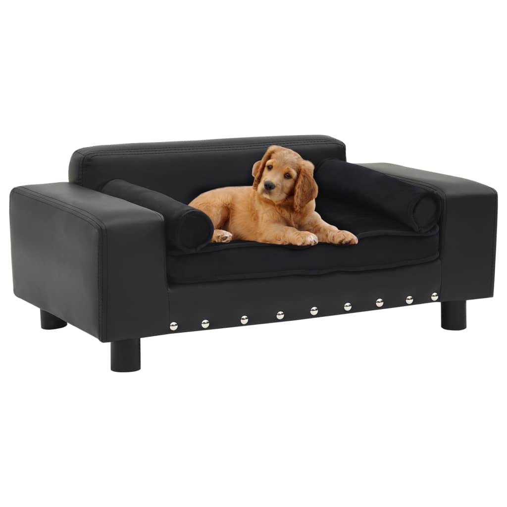vidaXL Pohovka pre psa čierna 81x43x31 cm plyš a umelá koža