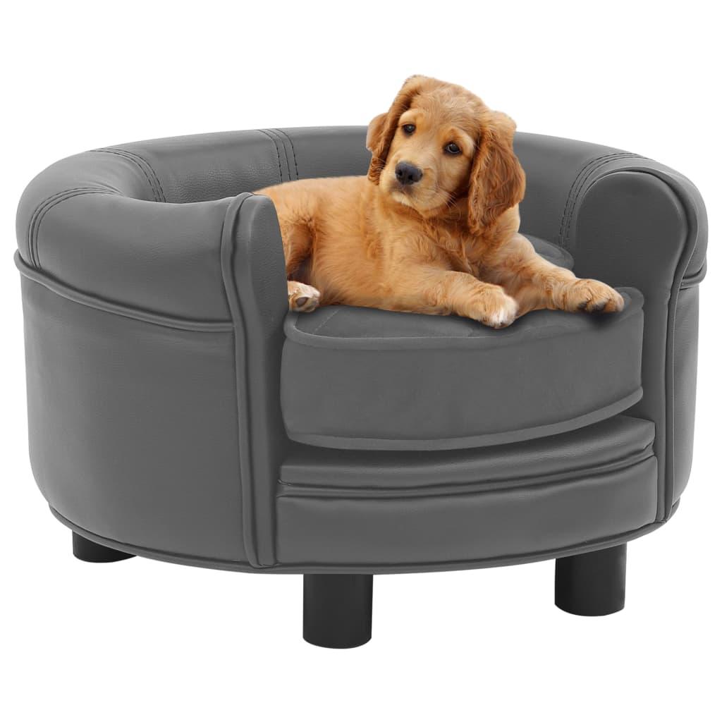vidaXL Pohovka pre psa sivá 48x48x32 cm plyš a umelá koža