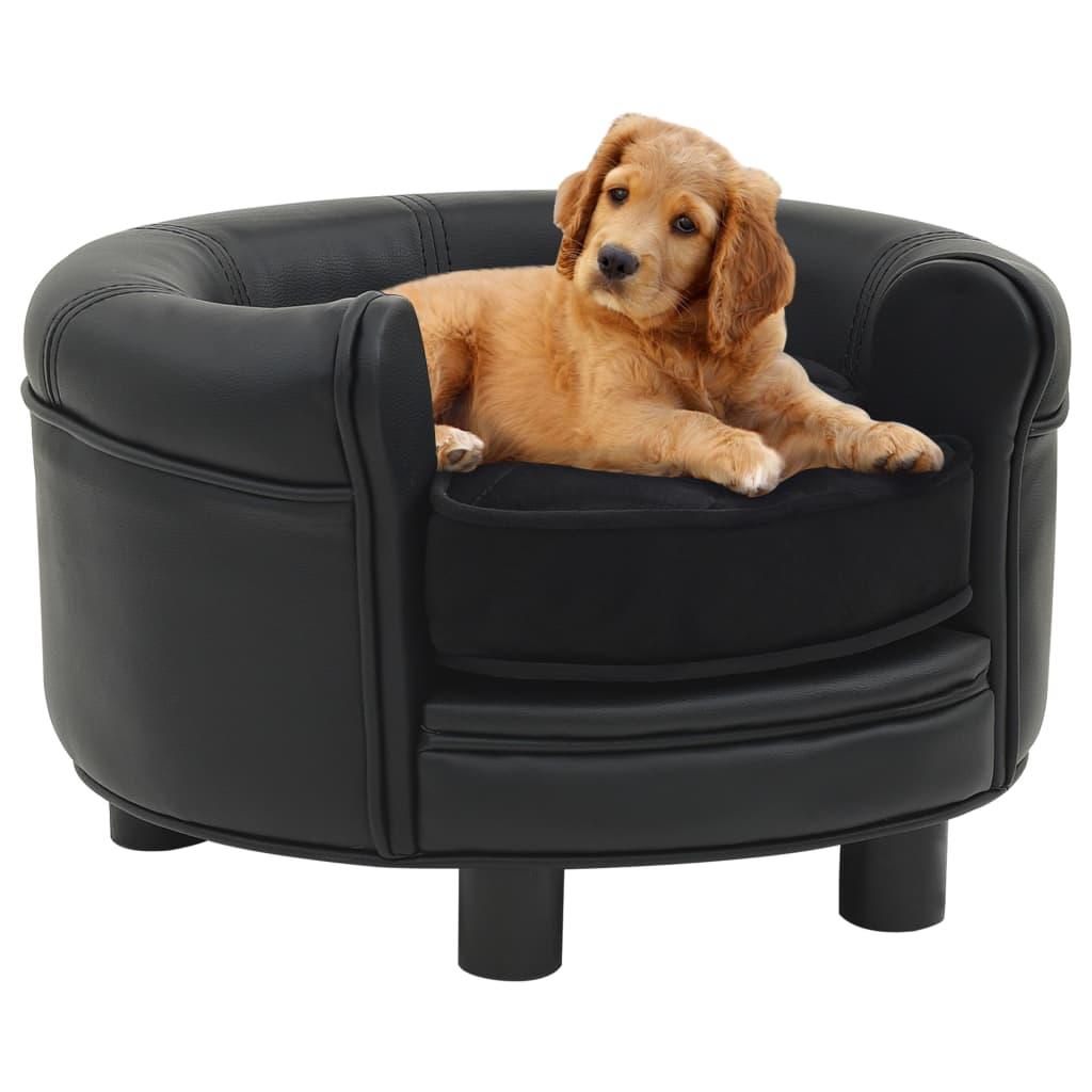 vidaXL Pohovka pre psa čierna 48x48x32 cm plyš a umelá koža