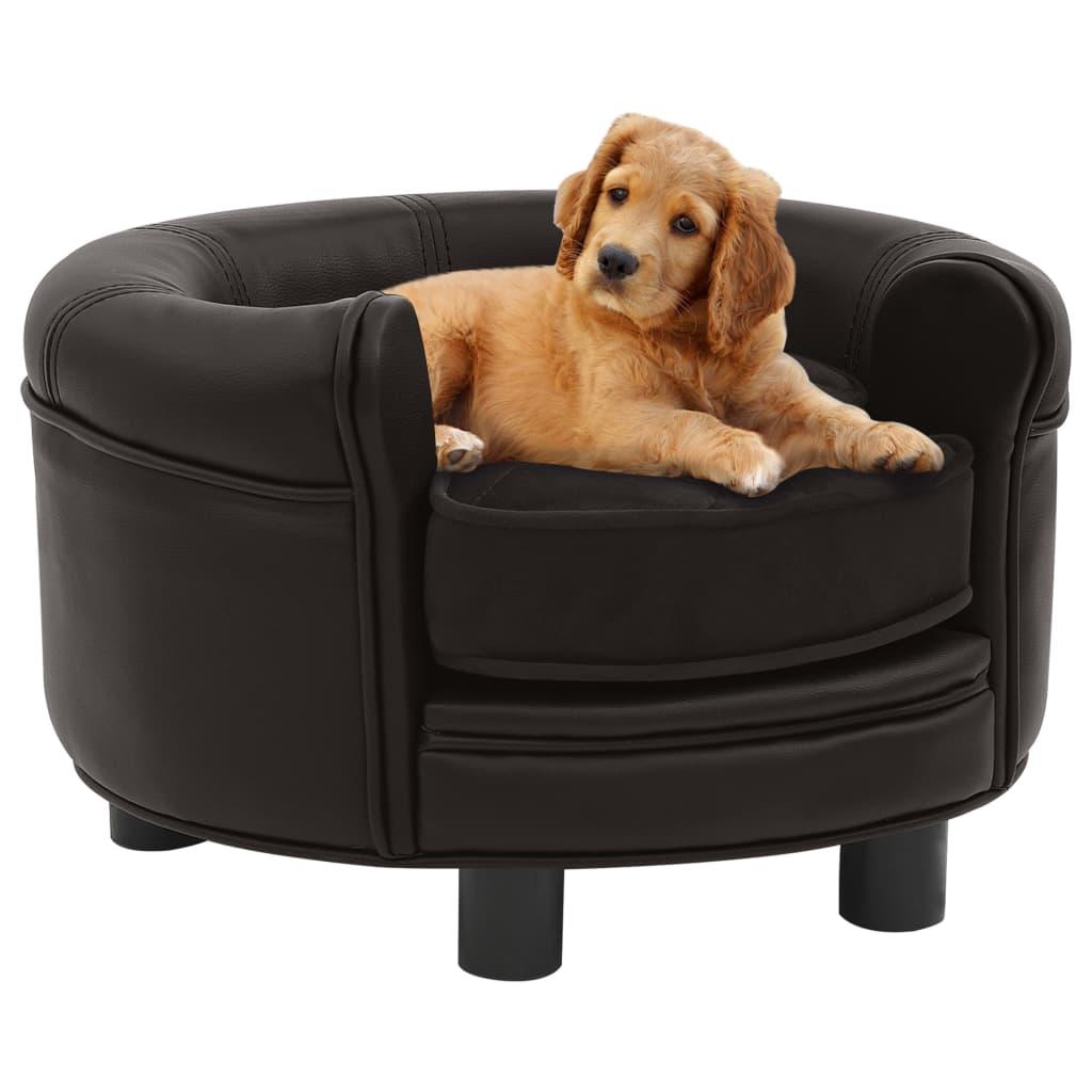 vidaXL Pohovka pre psa hnedá 48x48x32 cm plyš a umelá koža