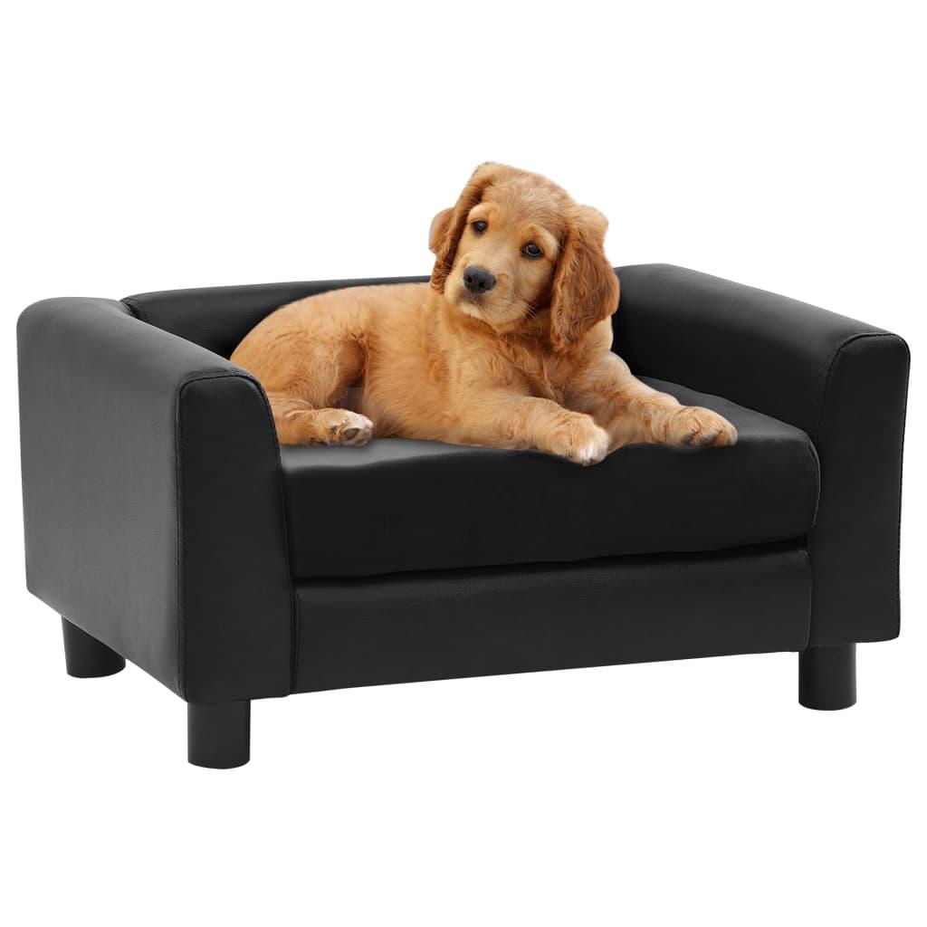 vidaXL Pohovka pre psa čierna 60x43x30 cm plyš a umelá koža